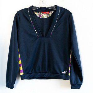 Puma dark blue v-neck pullover sweatshirt striped